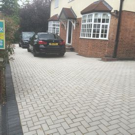 block paving with contrast edging